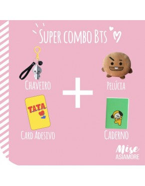 SUPER COMBO BTS BT21 ( Pelúcia+Chaveiro+Caderno+Adesivo)