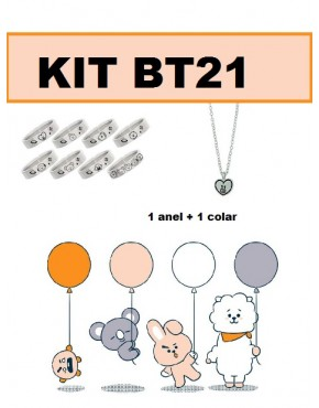 KIT BTS BT21 ( Anel+ Colar)