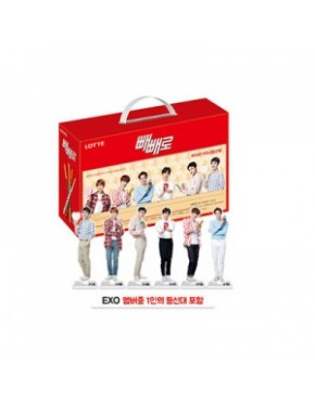 EXO LOTTE PEPERO PACKAGE VER.2 (9PEPERO + MINI STANDING FIGURE OR PHOTOCARD)