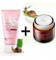[MIZON] ALL IN ONE SNAIL REPAIR CREAM 75g + Snail Recovery Gel Cream 45ml