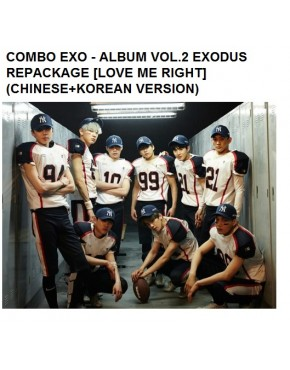 COMBO EXO - ALBUM VOL.2 EXODUS REPACKAGE [LOVE ME RIGHT] (CHINESE+KOREAN VERSION)