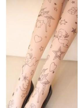 Meia Calça Tatuagem Anjos e Unicórnios